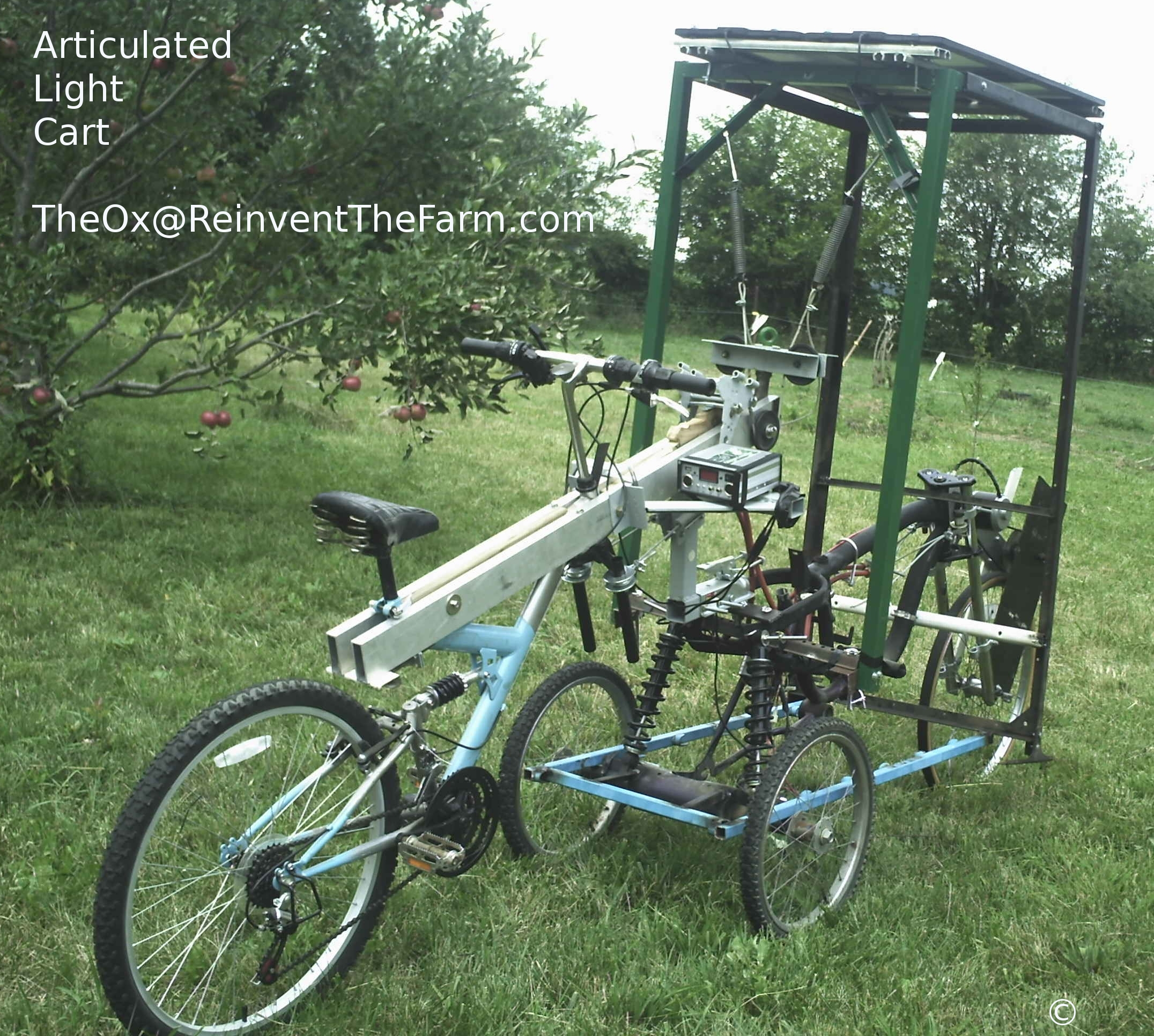 Solar electric and human hybrid powered Articulated Light Cart